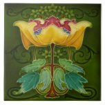 """Antique Rhodes c1900 Art Nouveau Majolica Floral Ceramic Tile<br><div class=""""desc"""">Beautiful stylized art nouveau flower in yellow,  rose,  gold,  aqua,  teal,  green and more! Reproduced from one of the gems of our collection. Art Nouveau tiles are highly collectible and make great wall tiles trivets,  coasters,  decorative accessories,  and,  of course,  gifts.</div>"""
