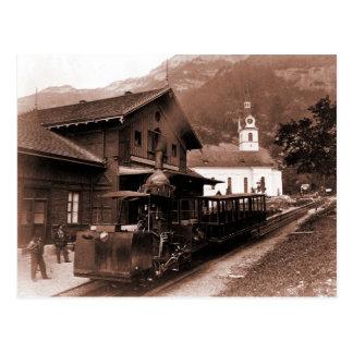 Antique Rigi Railroad mountain train station photo Postcard