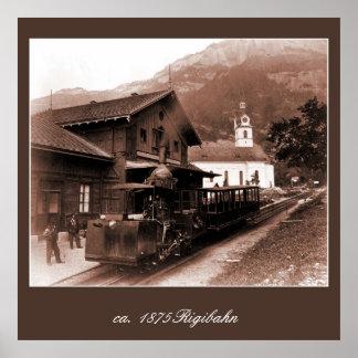Antique Rigi Railroad mountain train station photo Print