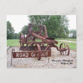 Antique Road Grader Postcard postcard