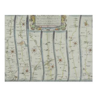 Antique Road Map Postcard