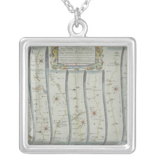 Antique Road Map Silver Plated Necklace
