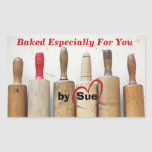 """Antique Rolling Pins """"Baked by YOU"""" Treat Labels Rectangular Sticker"""