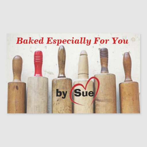 """Antique Rolling Pins """"Baked by YOU"""" Treat Labels Stickers"""