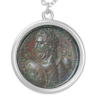 ANTIQUE ROMAN BRONZE MEDALLION EMPEROR SEVERUS SILVER PLATED NECKLACE