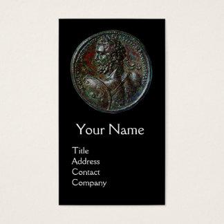 ANTIQUE ROMAN BRONZE MEDALLION MONOGRAM,Black Business Card
