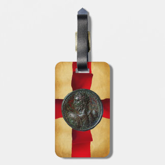 ANTIQUE ROMAN BRONZE MEDALLION Red Ribbon Luggage Tag