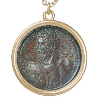 ANTIQUE ROMAN BRONZE MEDALLION SEPTIMUS SEVERUS ROUND PENDANT NECKLACE