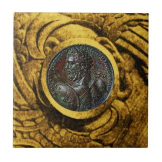 ANTIQUE ROMAN BRONZE MEDALLION WITH GOLD GRIFFINS CERAMIC TILE