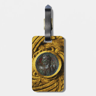 ANTIQUE ROMAN BRONZE MEDALLION WITH GOLD GRIFFINS LUGGAGE TAG