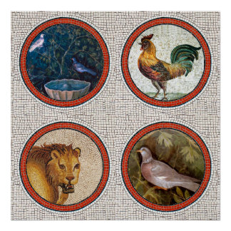 ANTIQUE ROMAN MOSAICS BIRDS ,ROOSTER AND LION POSTER