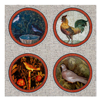 ANTIQUE ROMAN MOSAICS / BIRDS ROSES AND ROOSTER POSTER