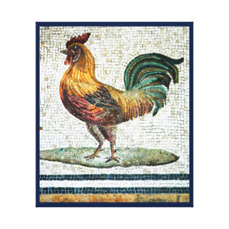ANTIQUE ROMAN MOSAICS / ROOSTER STRETCHED CANVAS PRINT