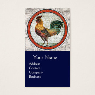 ANTIQUE ROMAN MOSAICS / ROOSTER MONOGRAM Blue Business Card