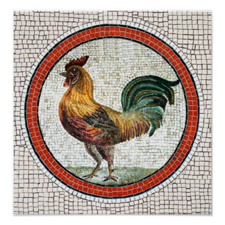 ANTIQUE ROMAN MOSAICS / ROOSTER POSTER