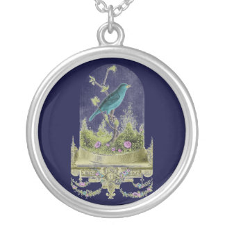 Antique Romantic Beautiful Bird in Glass Cloche Silver Plated Necklace