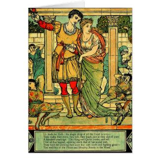Antique Romantic Walter Crane Sleeping Beauty Card