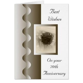 Antique Rose 70th Wedding Anniversary Card
