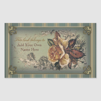 Antique Rose (blue) Bookplate
