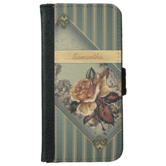 Antique Rose (blue) Personalized iPhone 6/6s Wallet Case