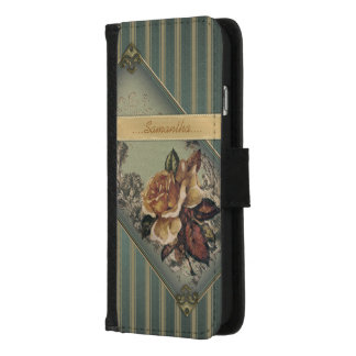 Antique Rose (blue) Personalized iPhone 8/7 Wallet Case