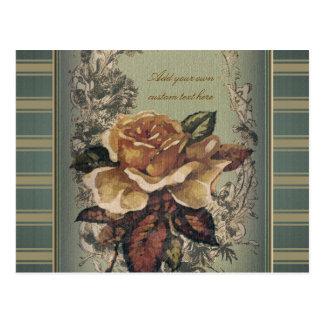 Antique Rose (blue) Personalized Postcard