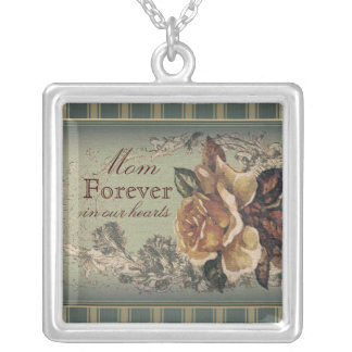 Antique Rose (blue) personalized Silver Plated Necklace