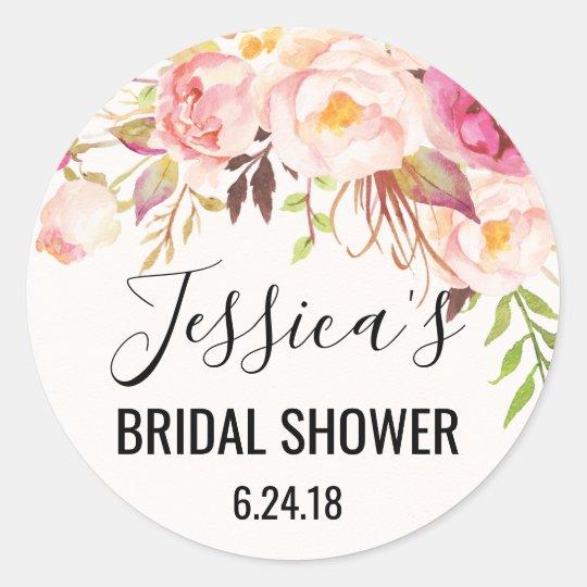 antique rose bridal shower favor stickers
