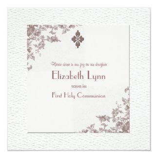 """Antique Rose Corners Religious Invitation 5.25"""" Square Invitation Card"""
