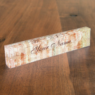 Antique Rose Cracked Linen Desk Name Plate