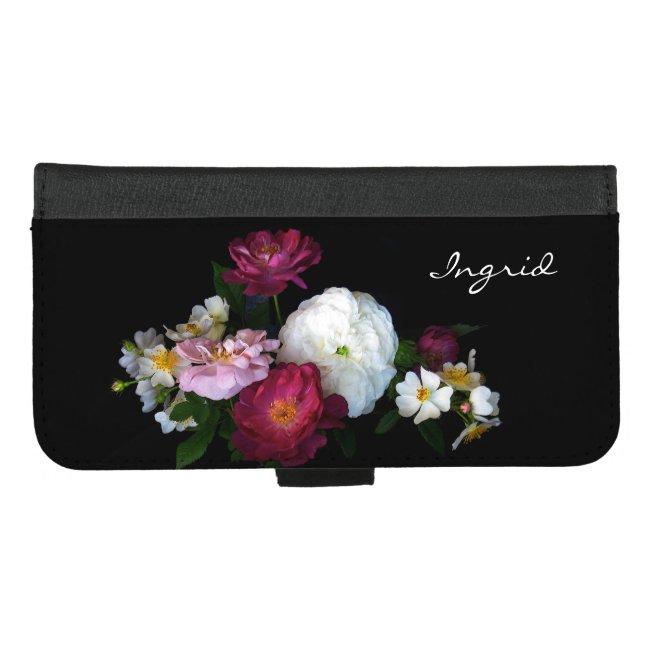 Antique Rose Flowers iPhone 8/7 Plus Wallet Case
