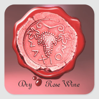 ANTIQUE ROSE GRAPE WINE RED WAX SEAL,Pink Square Sticker
