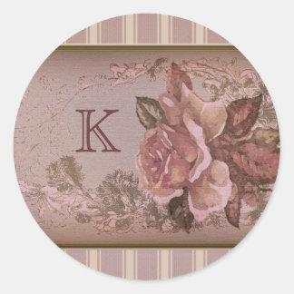 Antique Rose (pink) Custom Monogram Classic Round Sticker