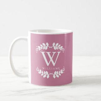 Antique Rose Pink Monogram Coffee Mug