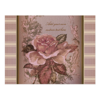 Antique Rose (pink) Personalized Postcard