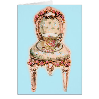 Antique Rose Teacup and Victorian Chair Card