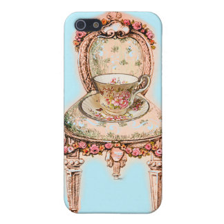 Antique Rose Teacup and Victorian Chair iPhone SE/5/5s Case