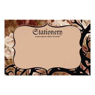 Antique Roses And Thorns Stationery