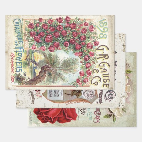 ANTIQUE ROSES HEAVY WEIGHT DECOUPAGE PRINTS WRAPPING PAPER SHEETS