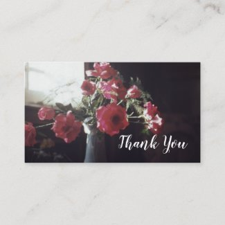 Antique Roses in Vase Floral Thank You Rose Business Card