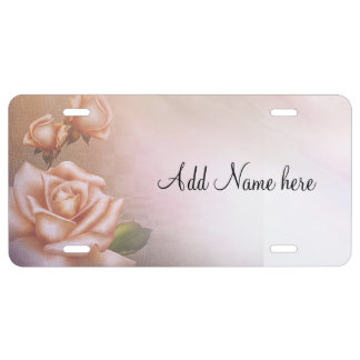 Antique roses license plate