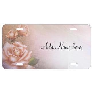 Antique roses license plate