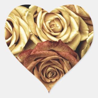 Antique Roses Photo Heart Sticker