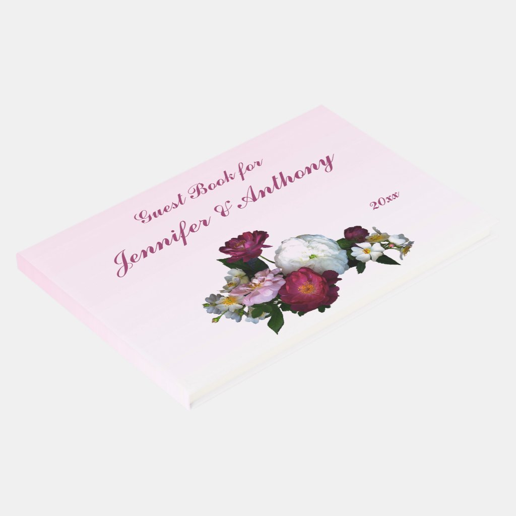 Antique Roses Pink Wedding Guest Book