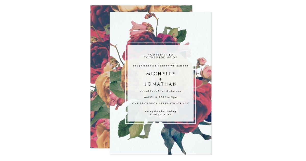 Antique roses vintage boho wedding invitation zazzle for 70 s wedding invitations