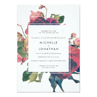 Floral Invitation For Garden Wedding   Antique Roses Vintage Boho Wedding  Invitation