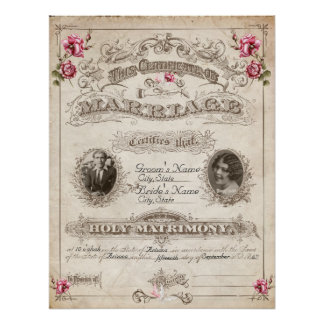 Antique Roses Vintage Marriage Certificate Poster