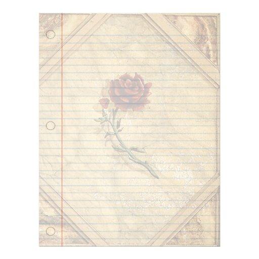 Antique Roses Vintage Notebook Paper Letterhead
