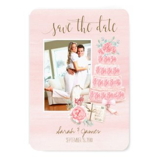 Antique Roses Wedding Cake Save the Date Photo Card