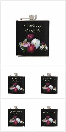 Antique Roses Wedding Flask Favors